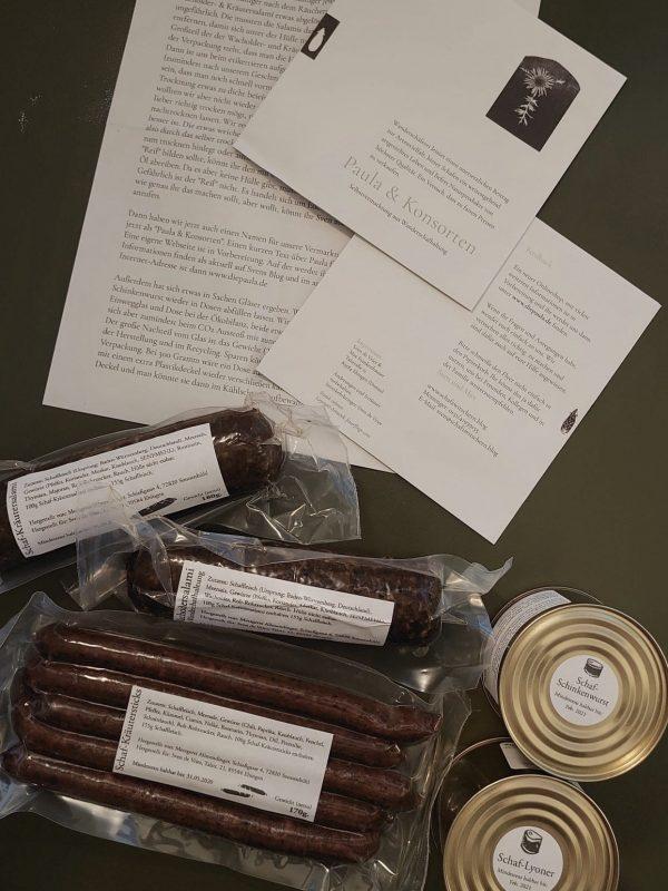 Inhalt unseres Probierpakets Schafwurst.